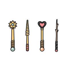 Magic wand objects set vector