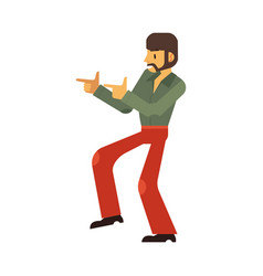 Man dancing disco in flat vector