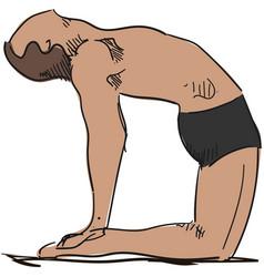 man yoga ustrasana or camel pose vector image