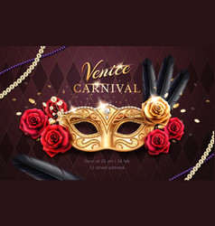 Mardi gras carnival banner flyer with mask vector