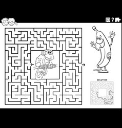 maze game with monkey and banana coloring book vector image