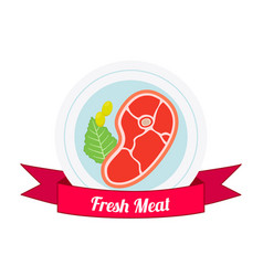 meat logo label for menu shops flat style vector image