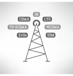 Mobile signal tower station made in modern flat vector