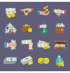 Money icon flat vector
