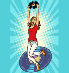 music and vinyl joyful young woman jumping up vector image