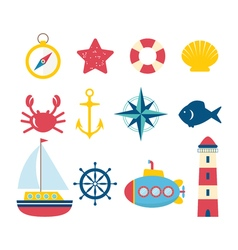 Nautical design elements in flat style Collection vector image
