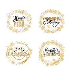 new year happy holidays warm wishes santa cookies vector image