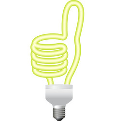 Ok hand sign energy saving bulb vector