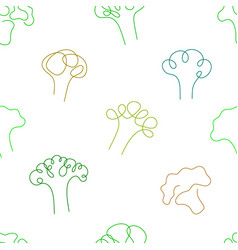 One line art style broccoli abstract food vector
