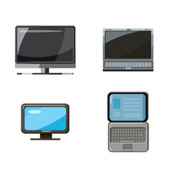 pc and laptop icon set cartoon style vector image