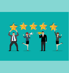 people are giving review rating and feedback vector image