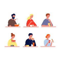 people eating hungry characters with different vector image