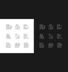 pharmaceutical drugs linear icons set for dark vector image