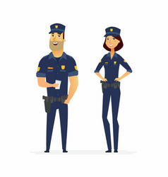 Police officers on duty - cartoon people vector