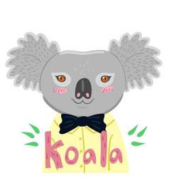 portrait a koala in a yellow shirt graphics vector image