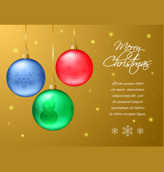 rectangular christmas or new year card realistic vector image