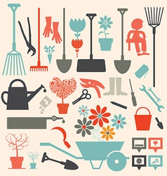 Retro Gardening Icons Set vector image