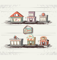Retro store style set icons vector