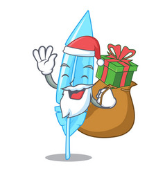 Santa with gift feather mascot cartoon style vector