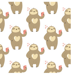 Seamless pattern with cute sloths taking selfies vector