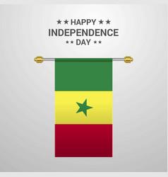 Senegal independence day hanging flag background vector