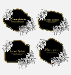set hand drawn floral frame geometric frame vector image