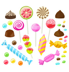 set of assorted candies on white background vector image