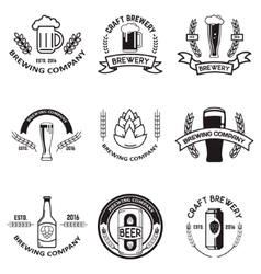 Set of beer labels in line style Design elements vector
