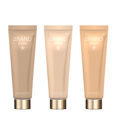 set realistic packages of foundation with vector image