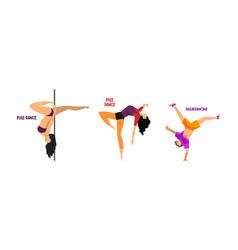 set various styles dancing people dancing vector image