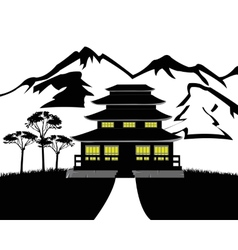 Silhouette of the building on nature vector image