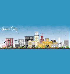 Sioux city iowa skyline with color buildings and vector