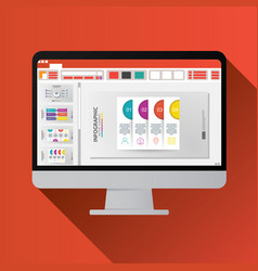 Slide presentation on computer screen flat icon vector