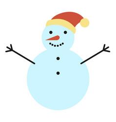 Snowman made from snowballs winter sculpture vector