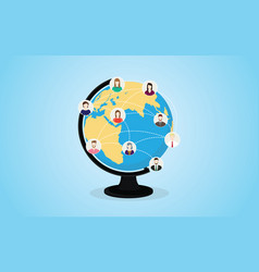 social media network with circle world and people vector image
