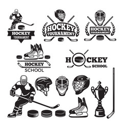 sport labels for hockey team badges set vector image