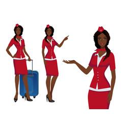 Stewardess in red uniform flying attendants air vector