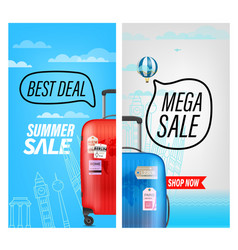 summer travel sale banners best deal and mega sale vector image