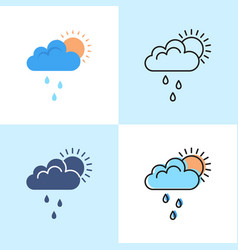 Sun behind cloud with rain icon set in flat and vector