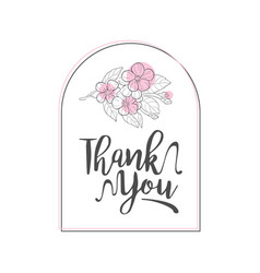 thank you handwritten inscription elegant card vector image
