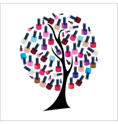Tree with Realistic Nail Polish vector image