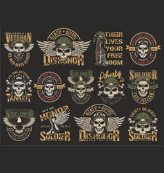 Vintage colorful military emblems set vector