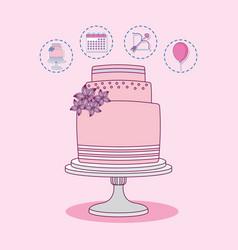 wedding celebration card with sweet cake vector image