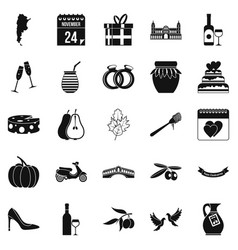wedding icons set simple style vector image