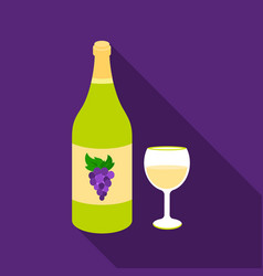 White wine icon in flat style isolated on white vector