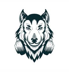 wolf headphone vector image