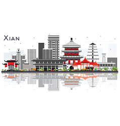 Xian china skyline with color buildings vector