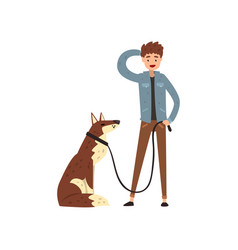 young man walking his pet dog vector image
