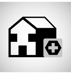 building hospital cross icon graphic vector image
