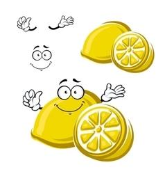 Cartoon happy ripe lemon fruit vector image